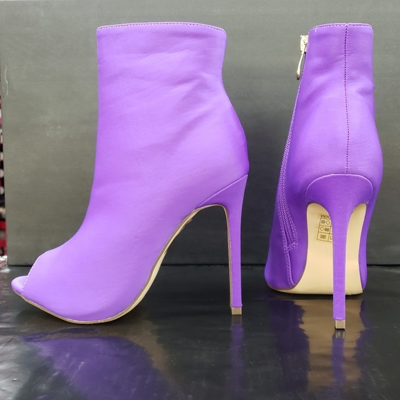 purple open toe booties